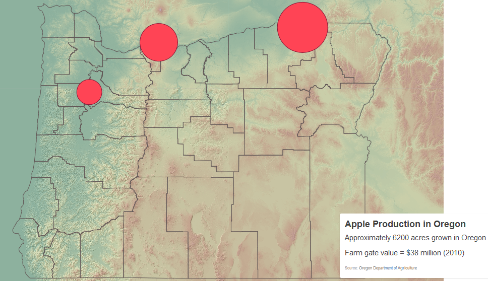 Map of Apple Production in Oregon