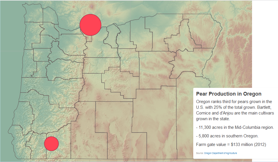 Map of Pear Production in Oregon
