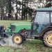 An electric weed control unit, attached to a tractor, in use during the first practice phase of research. Photo courtesy of Marcelo Moretti/OSU.